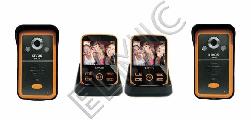 Wideodomofon bezprzewodowy ELMIC KIVOS KDB300 - zestaw rozszerzony premium- 2 kamery + 2 monitory