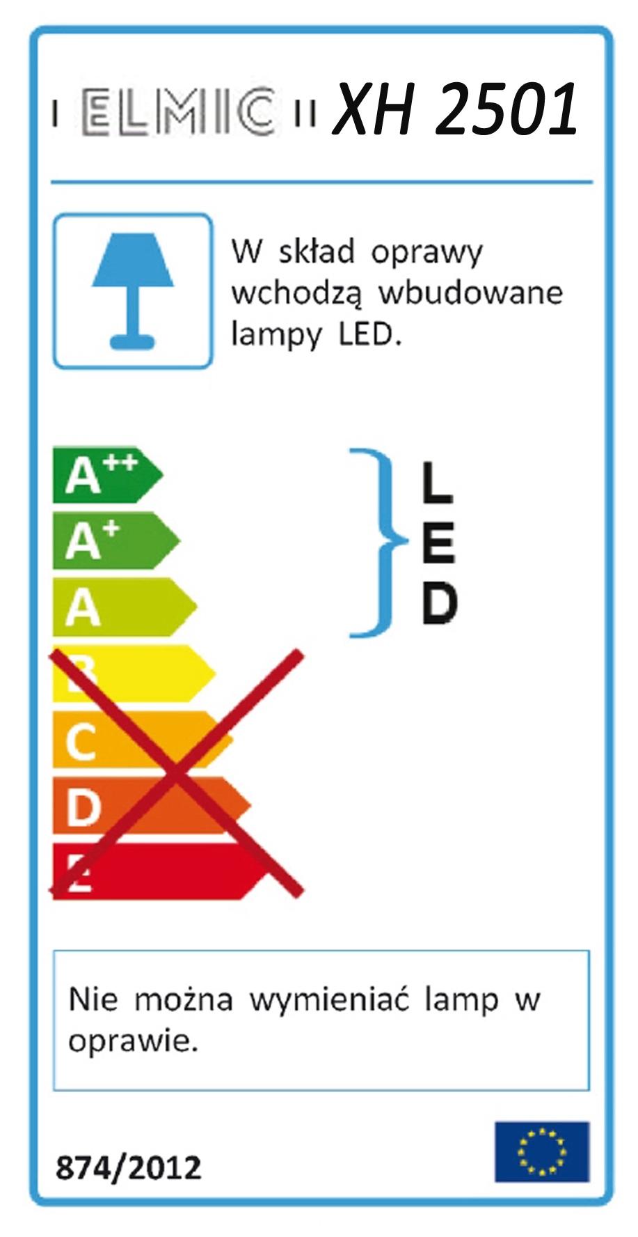 Etykieta energetyczna ELMIC XH2501 Naświetlacz LED z czujnikiem ruchu
