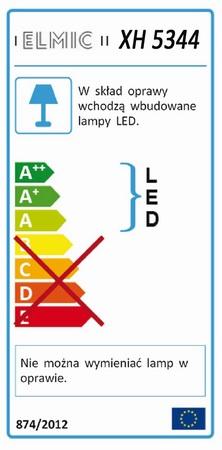 Etykieta energetyczna ELMIC - oprawy sufitowej ELMIC XH5344 - lampy z niewymiennym źródłem światła