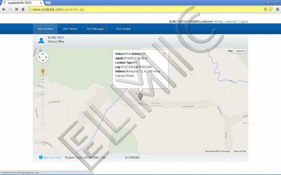 Zrzut ekranu - bieżąca pozycja osoby na mapie