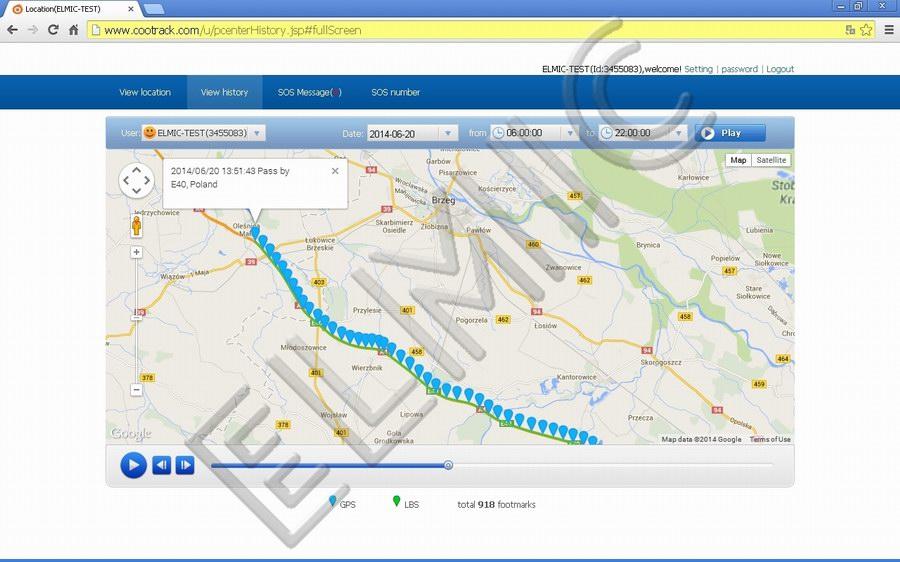 Przebyta przez osobę trasa - ścieżka - prezentacja graficzna na mapie Google