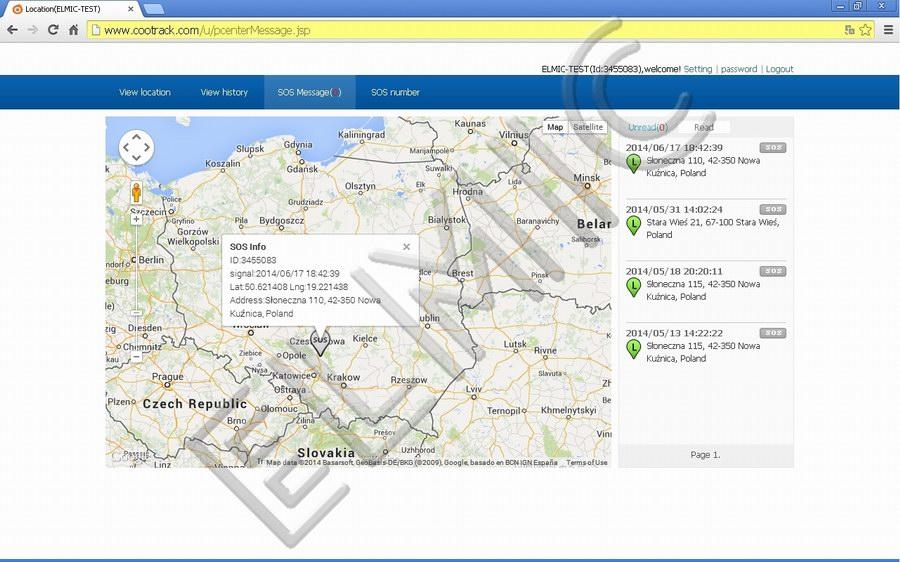Zrzut ekranu - prezentacja miejsca, gdzie użyto przycisku alarmowego SOS
