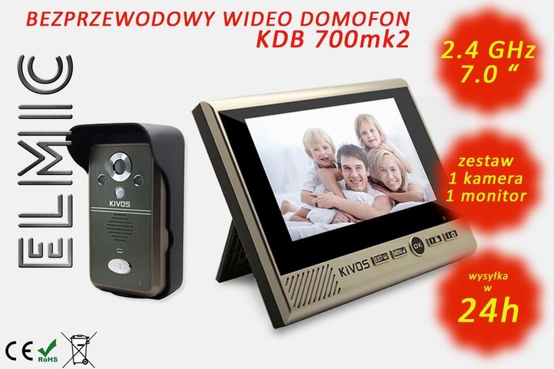 Wideo domofon - wideodomofon bezprzewodowy radiowy ELMIC KIVOS KDB 700mk2 zestaw 1 monitor 7 cali 1 kamera