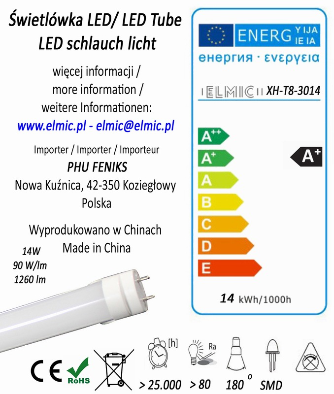 Etykieta energetyczna świetlówki liniowej ELMIC XH T8 SMD 3014