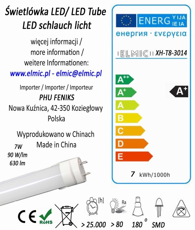 Etykieta energetyczna świetlówki liniowej ELMIC XH T8 SMD 3014 7W