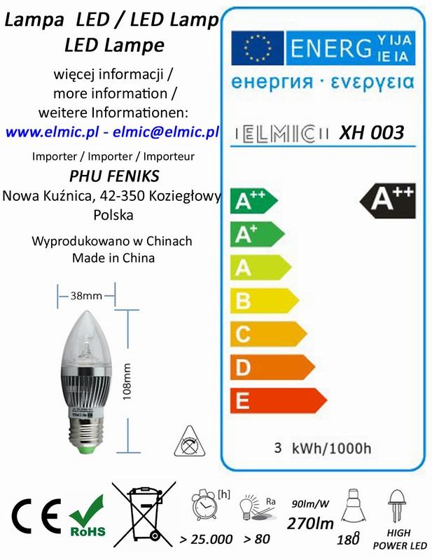 Etykieta energetyczna ELMIC żarówka świecowa ELMIC XH003