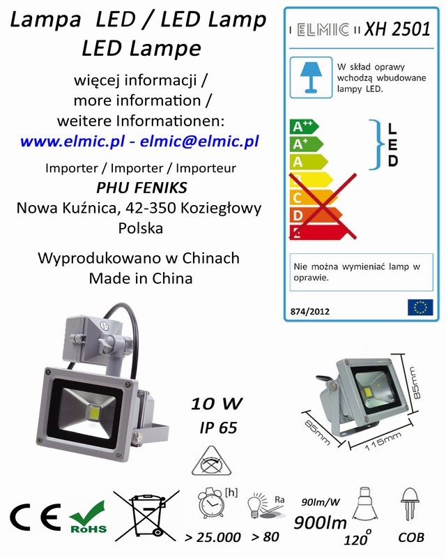 Etykieta produktu ELMIC Naświetlacz z czujnikiem ruchu LED XH2501 10W