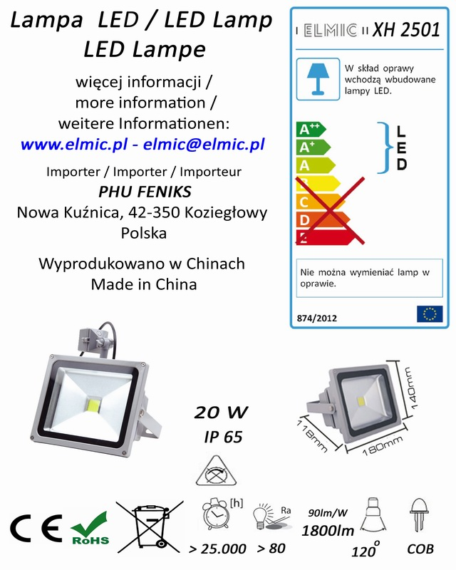 Etykieta produktu ELMIC Naświetlacz z czujnikiem ruchu LED XH2501 20W