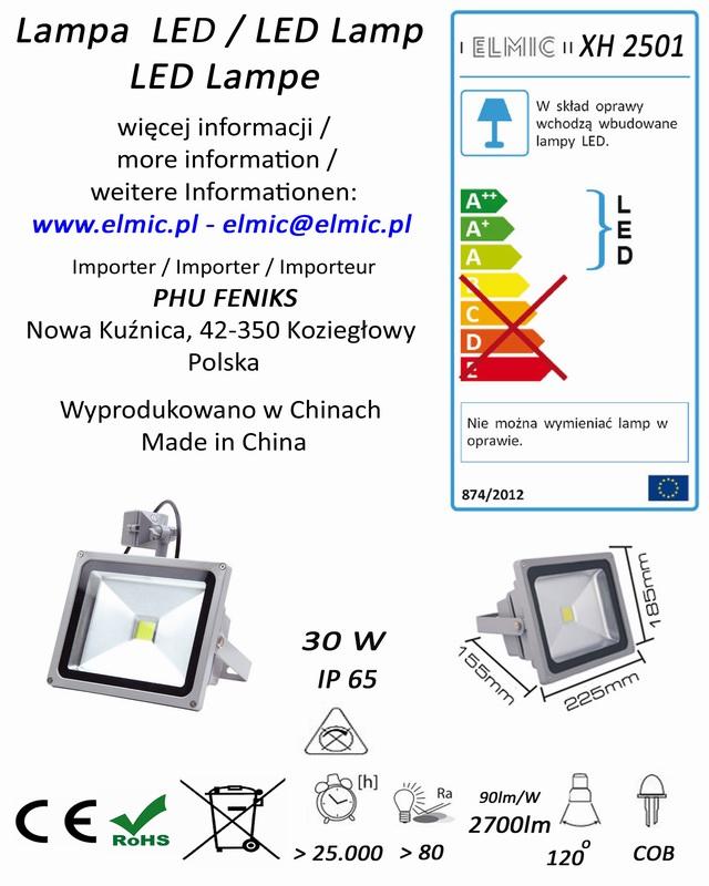 Etykieta produktu ELMIC Naświetlacz z czujnikiem ruchu LED XH2501 30W