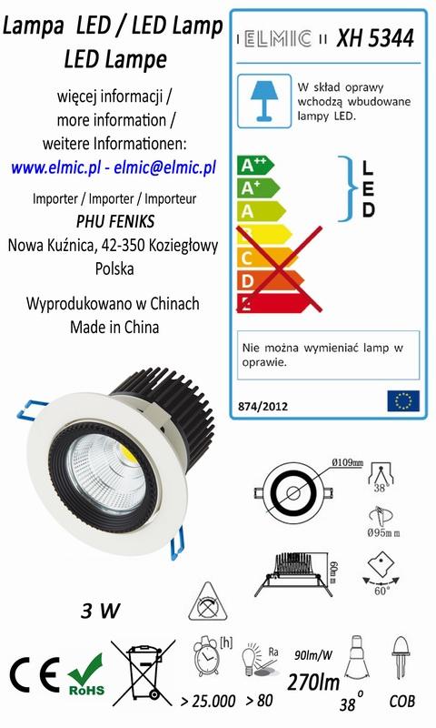Etykieta energetyczna oprawa sufitowa ELMIC XH 5344 3W