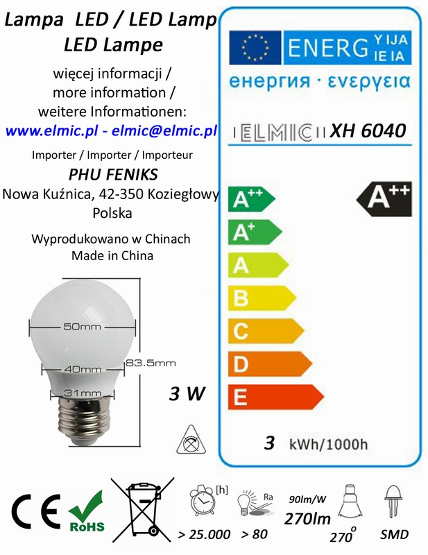 Etykieta energetyczna ELMIC Żarówka XH 6040 3W