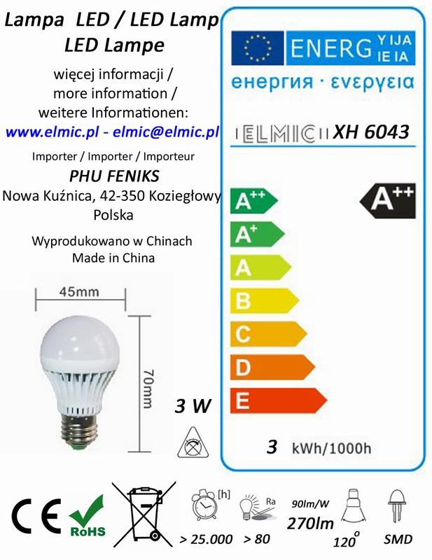 Etykieta energetyczna ELMIC Żarówka XH 6043 3W