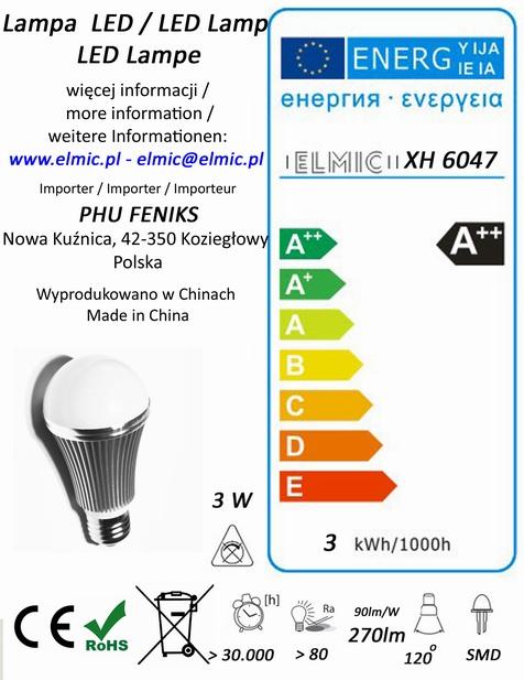 Etykieta energetyczna ELMIC Żarówka XH 6047 3W