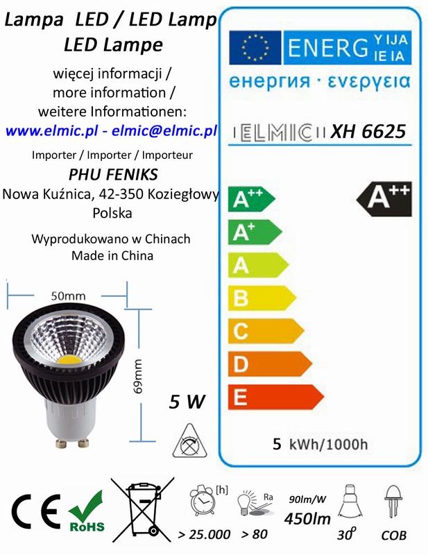 Etykieta energetyczna ELMIC Żarówka XH 6625 5W