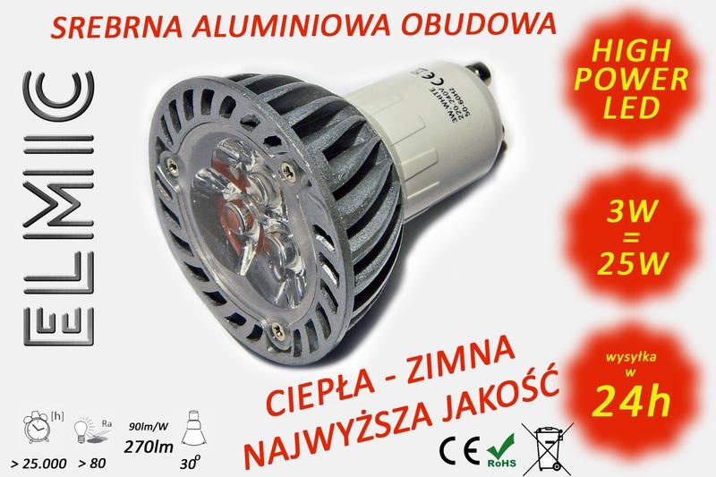Żarówka ELMIC XH 6628 3W GU10 przeźroczysta - zamiennik żarówki halogenowej