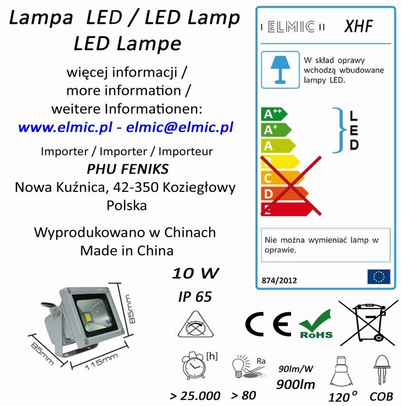 Etykieta produktu ELMIC Naświetlacz LED XHF 10W