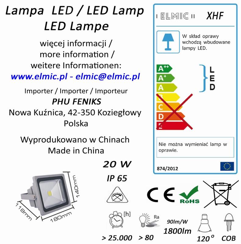 Etykieta produktu ELMIC Naświetlacz LED XHF 50W