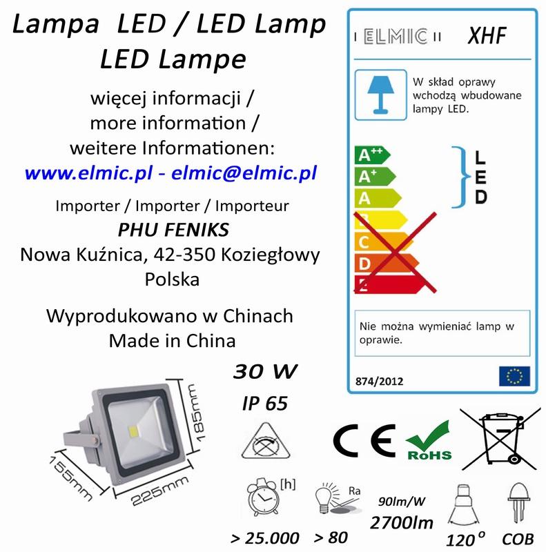 Etykieta produktu ELMIC Naświetlacz LED XHF 30W