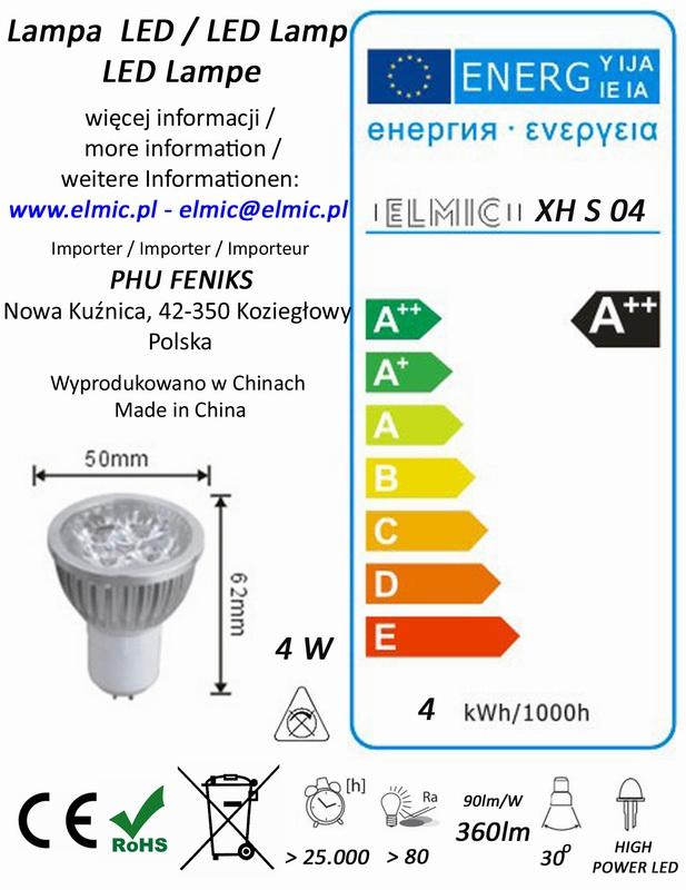 Etykieta energetyczna ELMIC Żarówka XHS04 4W