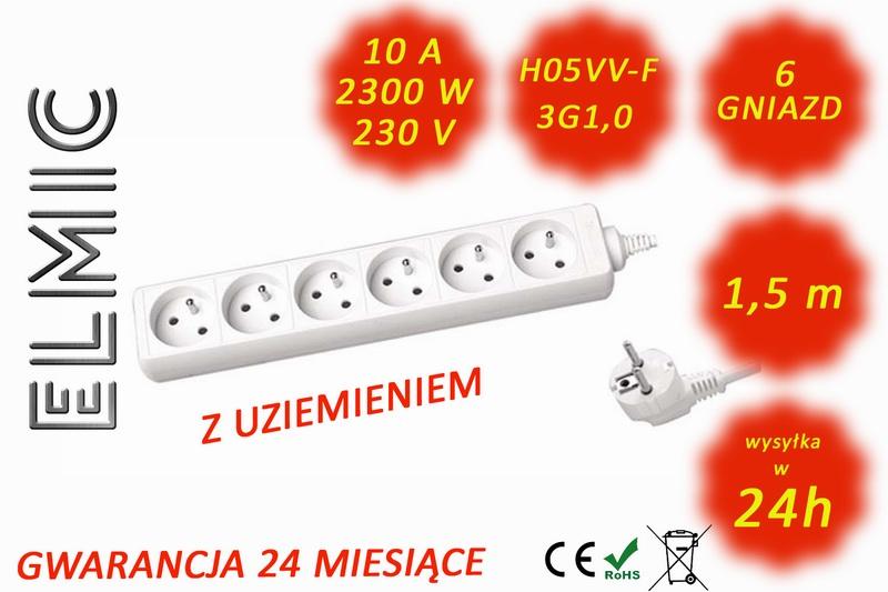 Przedłużacz elektryczny listwa bez włącznika 6 gniazd ELMIC